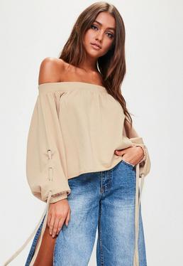 Nude Bardot Blouson Lace Up Sleeve Washed Cropped Sweatshirt