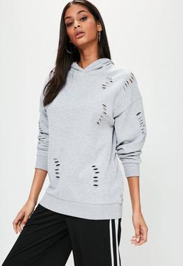 Szara owersajzowa bluza z kapturem i dziurami