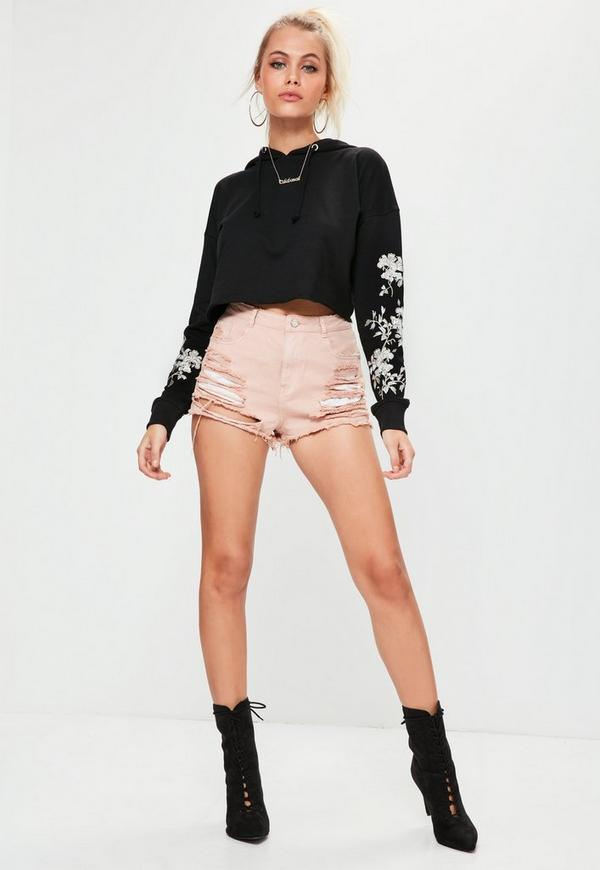 Black Embroidered Sleeve Cropped Hoodie Top Missguided