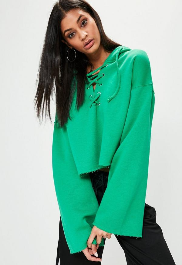 Green Flared Sleeve Lace Up Cropped Hoodie