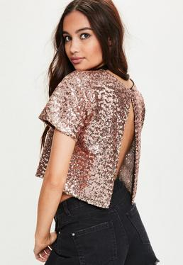 Rose Gold Open Back Sequin Top