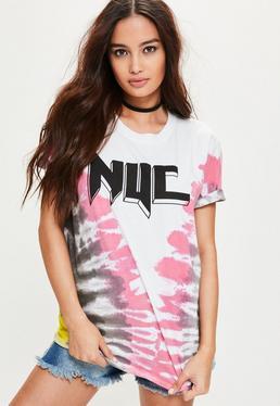 Batik NYC Grafik T-Shirt in Weiß