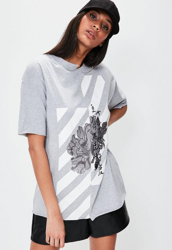 Grey Embroidered Graphic Spliced T-Shirt