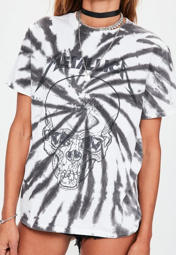 White Metallica Tie Dye Oversized T Shirt Missguided