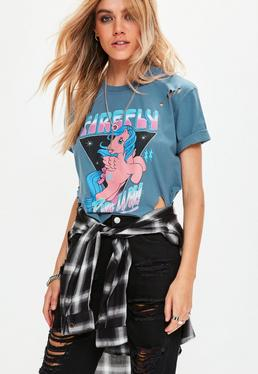 Navy My Little Pony Distressed Cropped T-Shirt