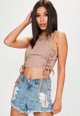 Lace-Up Crop-Top in Rosé