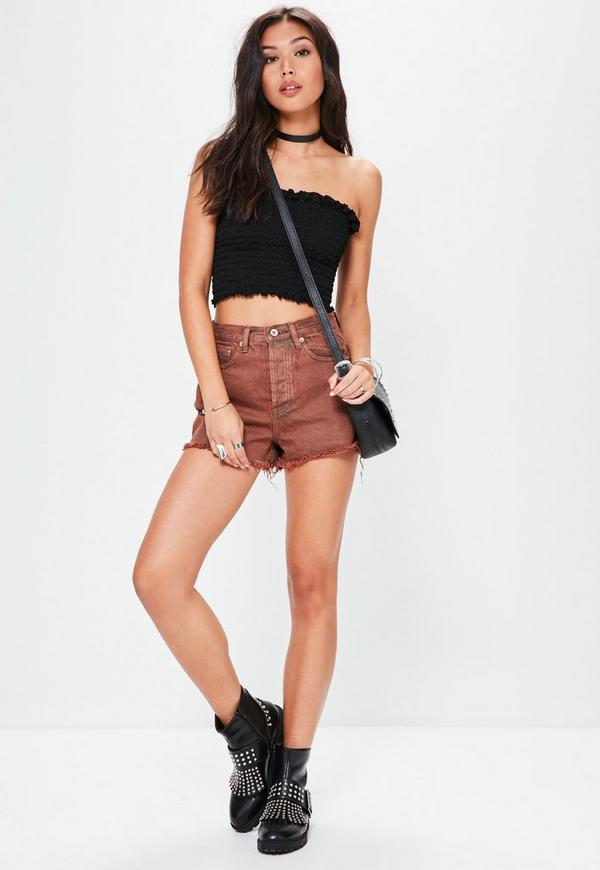 Black Shirred Bandeau Top | Missguided