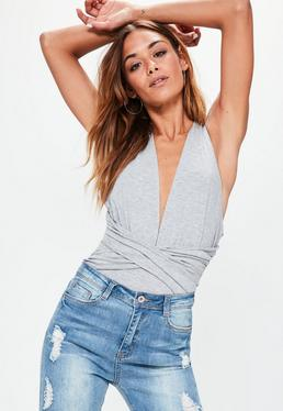 Grey Wrap Detail Halter Neck Bodysuit