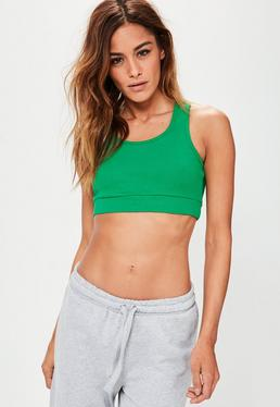 Green Racer Back Ribbed Bralet