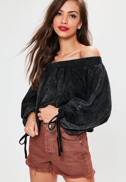 Grey Bardot Blouson Sleeve Cropped Sweatshirt