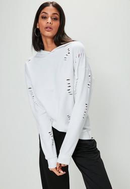 Weiter Kapuzenpullover mit Distressed-Details in Weiß