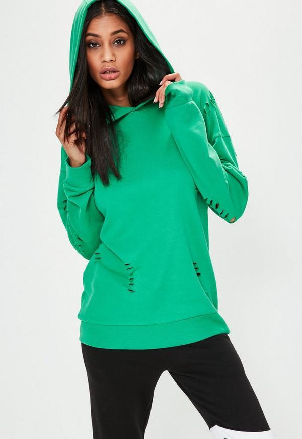Green Distressed Oversized Hoodie
