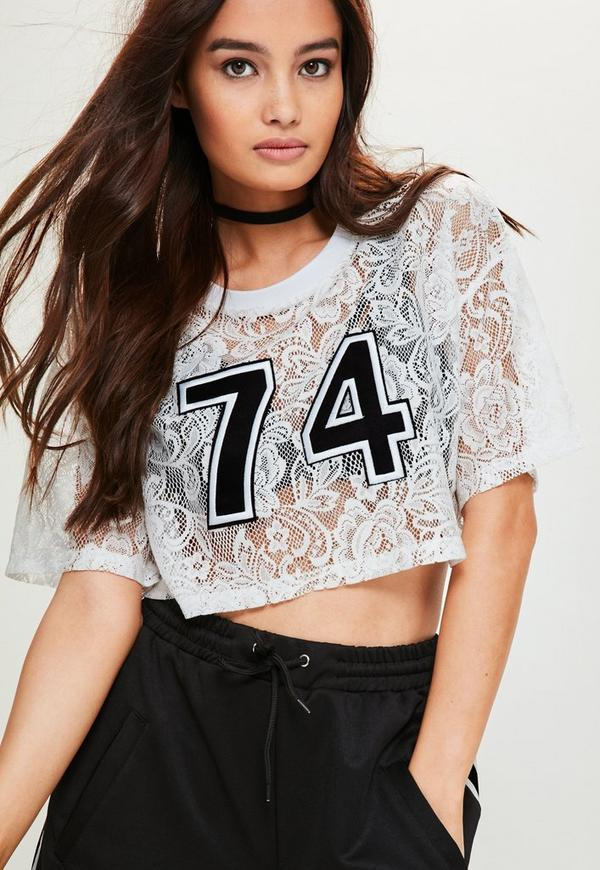 White Lace Graphic Crop Top
