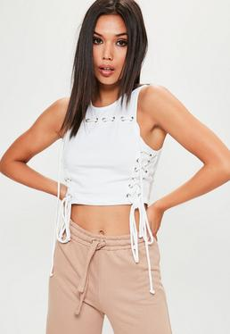Lace-Up Crop-Top in Weiß