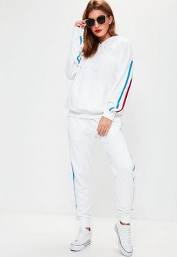Jogging-Hoodie mit Streifen in Weiß