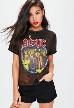 T-shirt oversize noir délavé à imprimé ACDC destroy