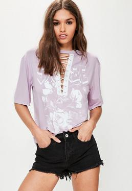 Purple Graphic Lace Up T-Shirt