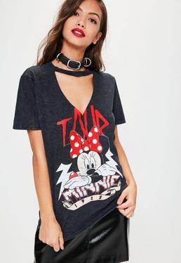 T-shirt noir délavé et découpé à imprimé Minnie