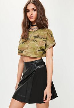 Khaki Camo Crop T-Shirt