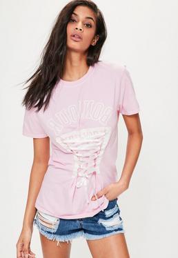 Różowy T-shirt z nadrukiem i gorsetowym wiązaniem z przodu