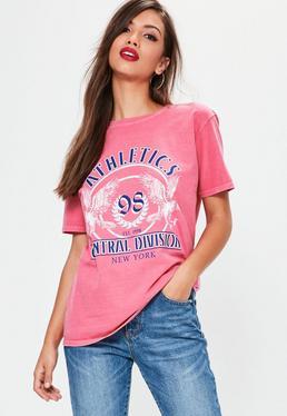 Ausgewaschenes Athletics T-Shirt in Pink