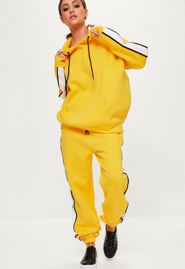 Yellow Oversized White Binding Tracksuit Hoodie