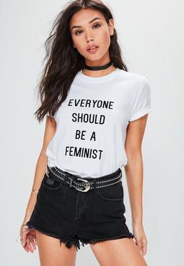 Crop T-Shirt mit Feminist-Slogan in Weiß