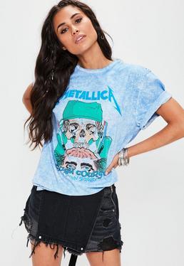 T-shirt bleu imprimé Metallica