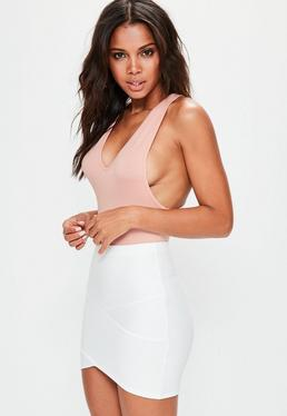 Peach Racer Back Plunge Bodysuit