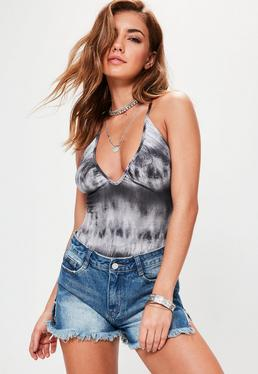 Grey Tie Dye Strappy Back Bodysuit