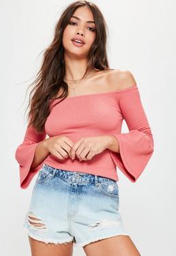 Pink Ribbed Fluted Sleeve Bardot Top