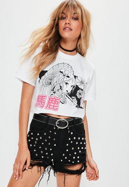 White Comic Print Cropped T-Shirt