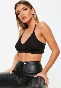 Black Ribbed Cross Back Bralet