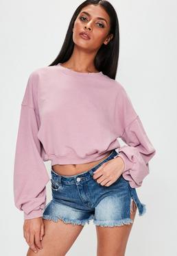 Różowa krótka bluza z bufiastymi rękawami