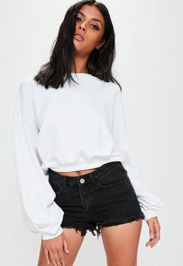 Crop-Sweatshirt mit Ballonärmeln in Weiß
