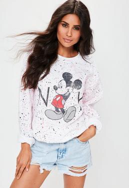 Splatter Micky Maus Sweatshirt in Weiß