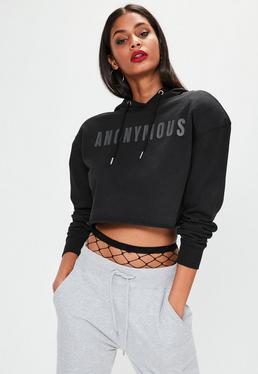 Black Shoulder Pad Anonymous Slogan Hoodie