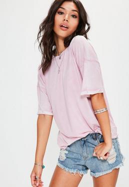 T-shirt rose délavé manches revers