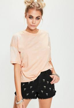 Pink Burn Out Rolled Cuff T-Shirt