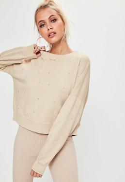 Nude Studded Front Detail Sweatshirt