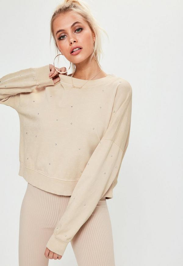 Nude Studded Front Detail Sweatshirt