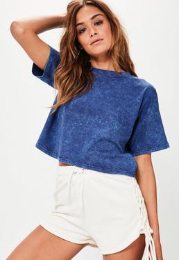 Blue Washed Cropped T-Shirt