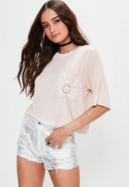 Nude Ring Pocket Detail T-Shirt