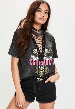 Graues Lace-Up Grafik T-Shirt