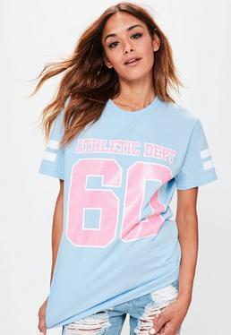 Niebieski pastelowy T-Shirt z nadrukiem Athletic