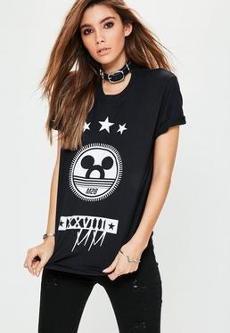 Mickey Grafik T-Shirt in Schwarz