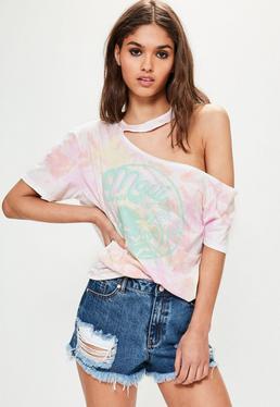 Cut-Out Grafik T-Shirt in Rosa