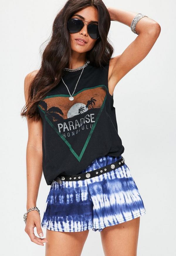 Black Paradise Graphic Vest
