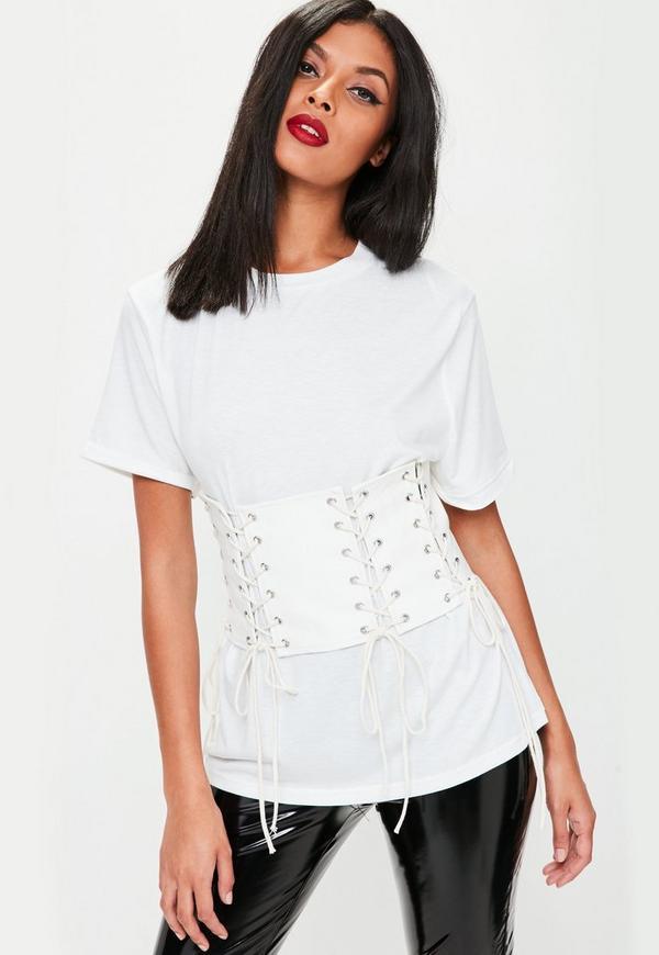 White Faux Leather Corset Oversized T-Shirt