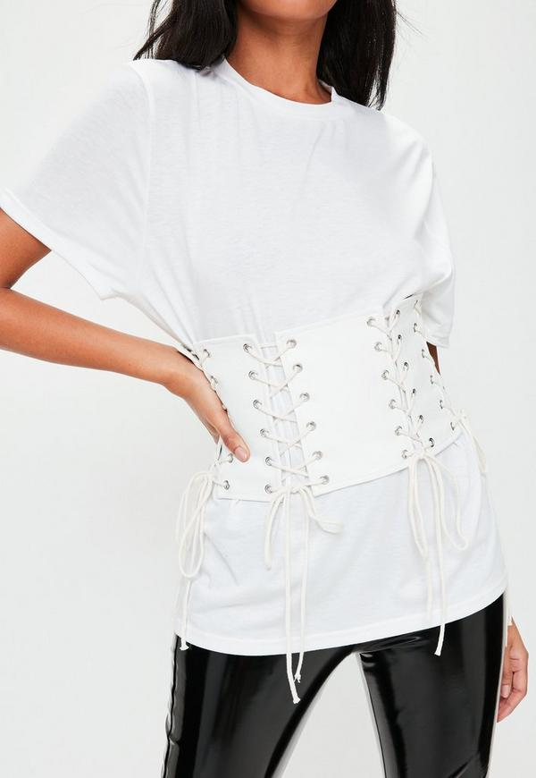 White Faux Leather Corset Oversized T-Shirt | Missguided